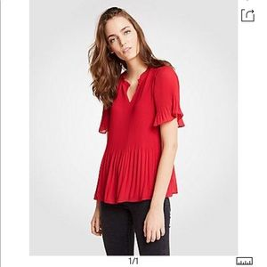 NWT Ann Taylor micro pleated top size S red
